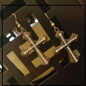 Jewelry - Brand New Pretty Cross Earrings